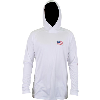 AFTCO Spangled Hoody Hoodie Fishing L//S Performance T-shirt..Pick Size..White