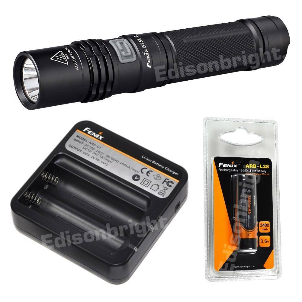 Fenix E35 UE 900 Lumen CREE LED Flashlight ARB-L2S Battery ARE-C1 Charger E35UE