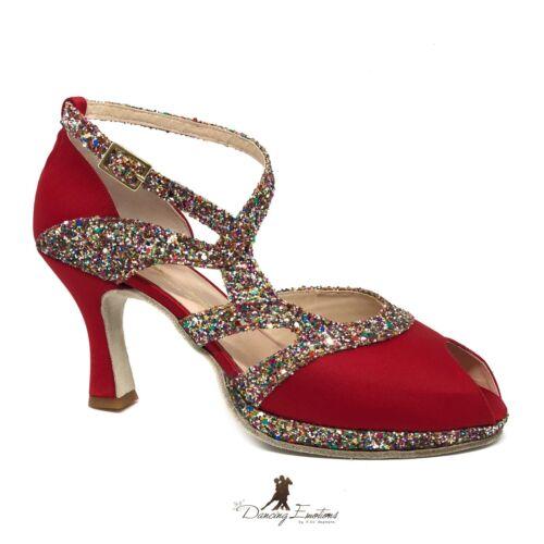 Salsa Rosso Donna Plateau Scarpa Latino Da Raso E Glitter In Con Tango Ballo 1qnxSnC