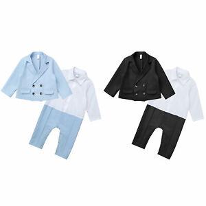Baby Boy Costume Gentleman Tenue Fête Anniversaire Noël Ange Blazer Manteau 0-24 M