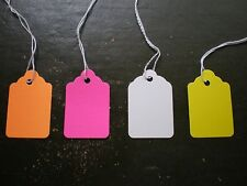 800 Blank Price Tags with String #5 - 200 each White, Yellow, Fl Orange, Fl Pink