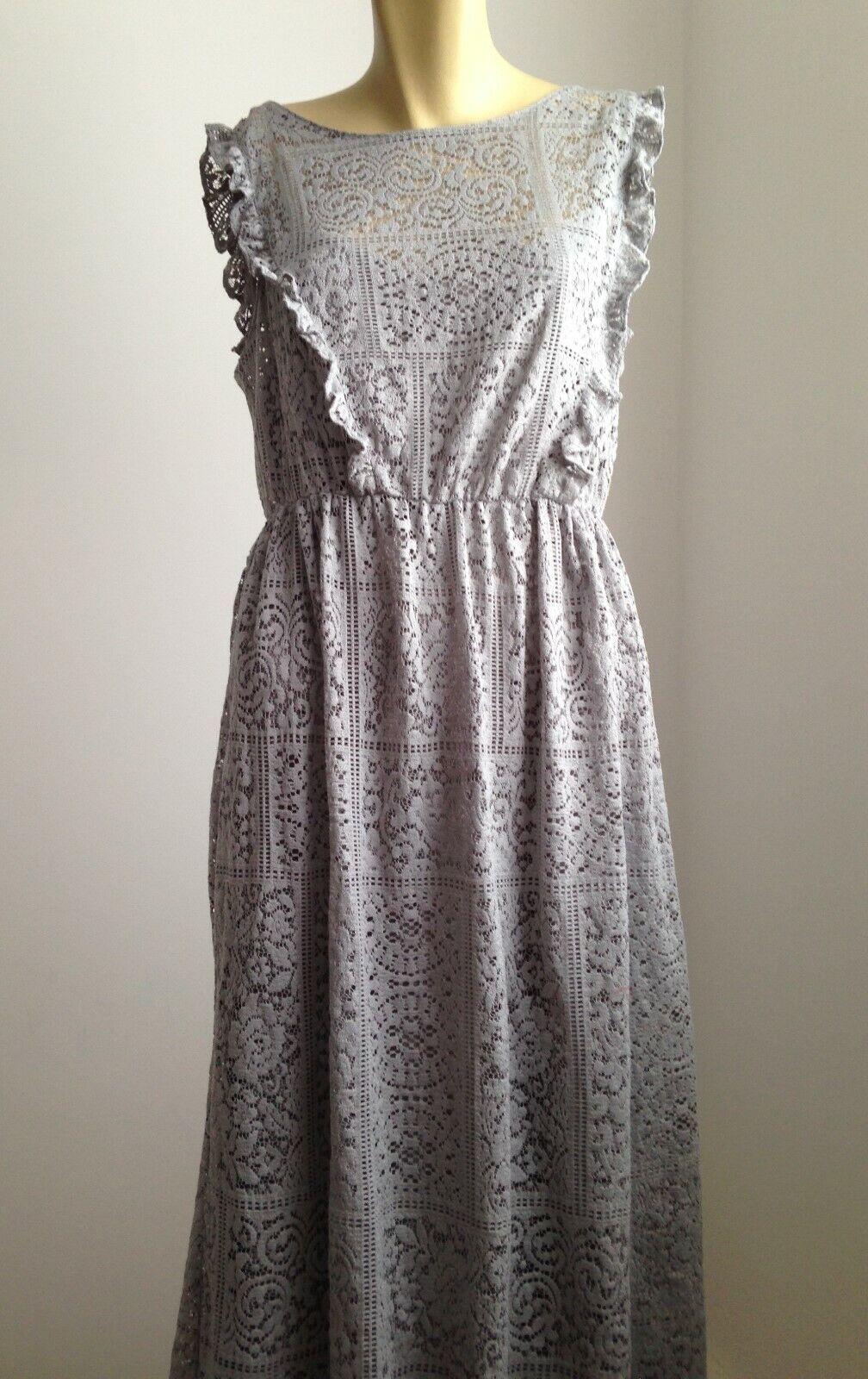 Zara Kleid mit Lochspitze Guipure Volants Biese grau Cocktailkleid Gr. M