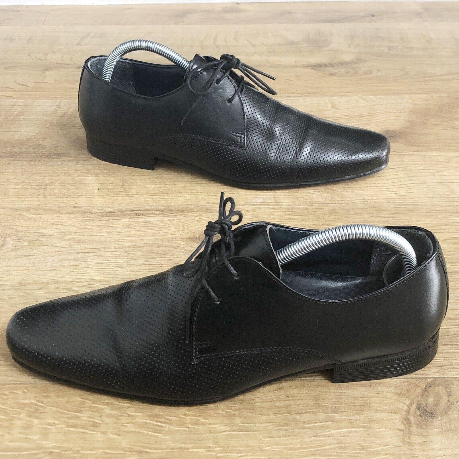Next Black Leather Pointed Toe Lace Up Shoes Size UK 6.5 (eur40) Men's