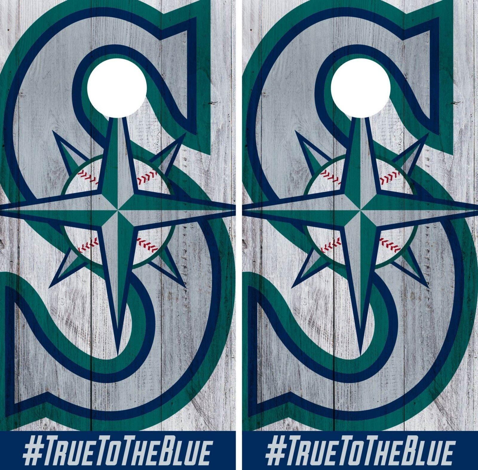 Seattle Mariners Cornhole Wrap MLB Logo Game Board Skin Set Vinyl Decal CO456