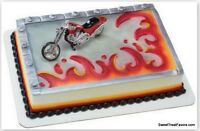 Motorcycle Chopped Cake Topper Decoration Party Kit Birthday Cupcakes Sport Red