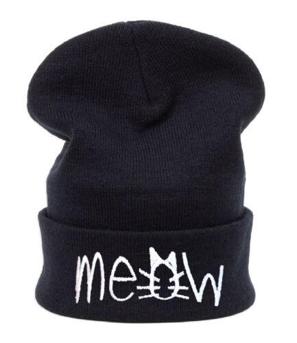 Casual Beanie Sombrero Invierno Moda Lana holgados Meow Gusano Slouch Esquí