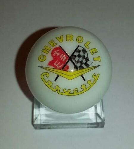 """Great Chevy Corvette Glass 1/"""" Logo Marble With Stand"""