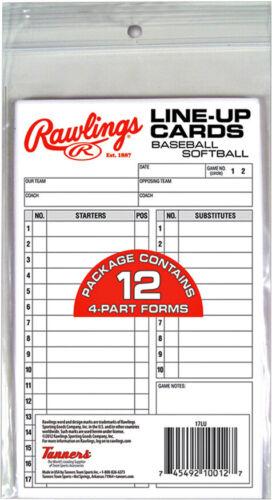 12 cards Rawlings Baseball Line-Up Cards
