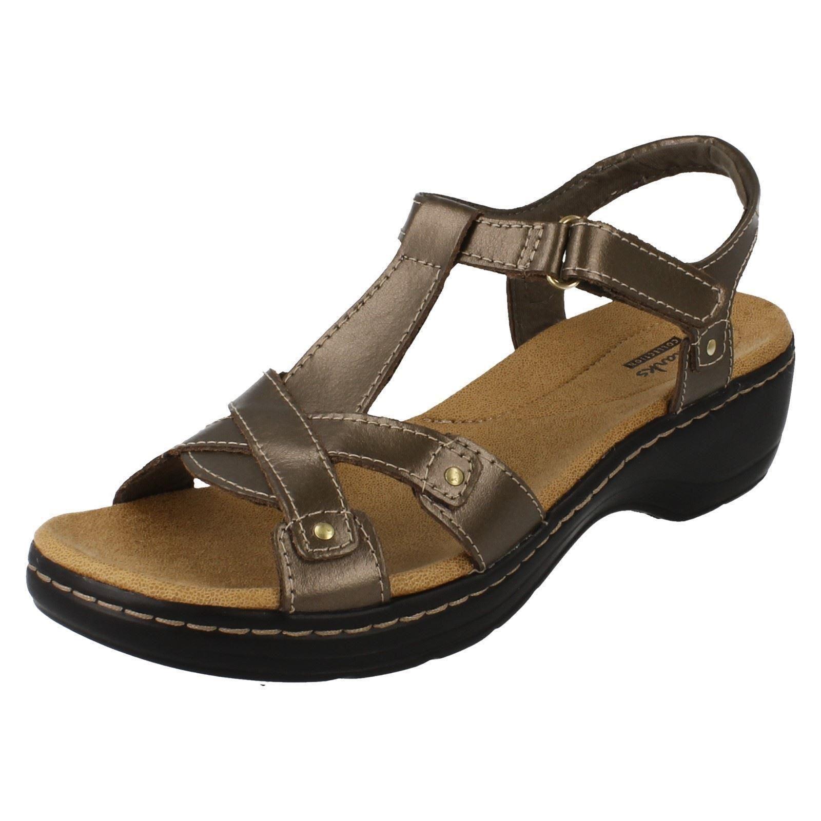 Clarks Hayla Flute Pewter Leather Slingback Summer Sandals D Fit