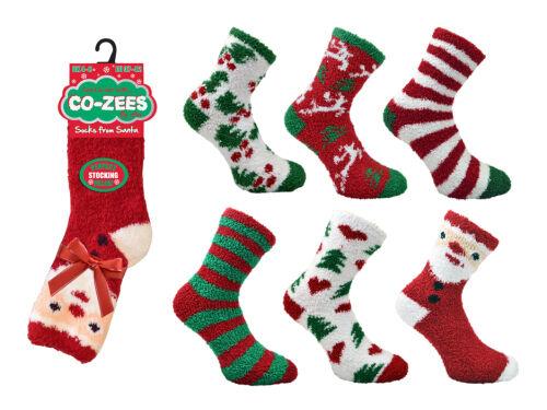 Co-Zees Ladies Christmas Soft /& Cosy Bed Sleep Socks 6 pair pack 4-8uk eu37-42