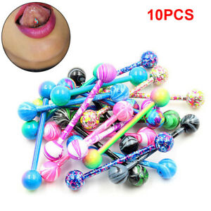 10PCS Stainless Steel Ball Barbell Tongue Rings Nipple Piercing Body Jewelry  FO