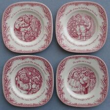 4  SQ Salad Dessert Plates Johnson Brothers Twas the Night Before Christmas NIB