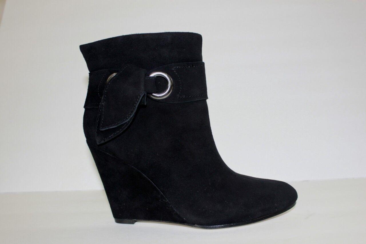 Boutique 9 Zapatos para mujer M Negro Cuero De Gamuza Cuña De Alto botas al Tobillo Nuevo en Caja
