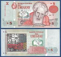 URUGUAY 5 Pesos Uruguayos 1998  UNC  P. 80