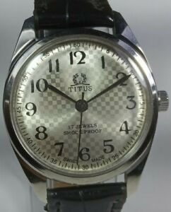 Vintage-Titus-Mechanical-Hand-Winding-Movement-Mens-Analog-Wrist-Watch-AC34