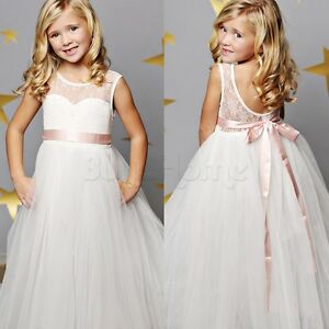 Flower-Girl-Dress-Princess-Vintage-Occasion-Pageant-Party-Wedding-Lace-Maxi-Sash