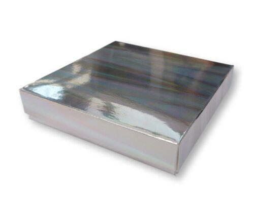 bijoux cadeaux Boîtes gâteaux etc. environ 10.16 cm 5 Argent Holographique 4 x 4 in cartes