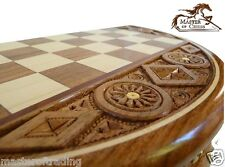 """SUPERB """"RUBY"""" WOODEN CHESS SET - EXTREMELY BEAUTIFUL HAND CARVED ROUND CASSETTE!"""