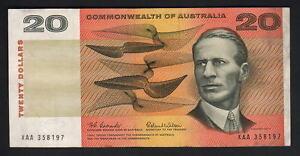 Australia-R-401F-1966-Coombs-Wilson-20-Dollars-XAA-1st-Prefix-aVF