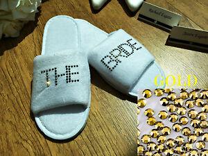 Zapatillas Personalizado Diamante Boda invitado Zapatos De Felpa De Oro Negrita Spa