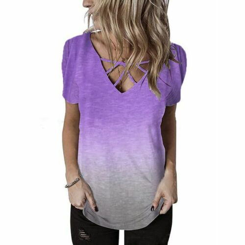 New Womens V Neck Elegant Fashion T-Shirt Casual Blouse O Neck Loose Floral Tops
