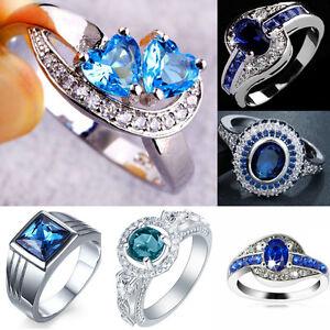 Fashion-Women-Crystal-Rhinestone-Plated-Blue-Zircon-Ring-Charm-Finger-Jewelry