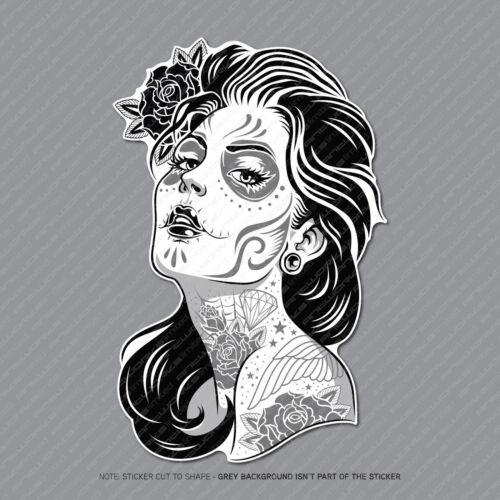 Mexican Sugar Skull Girl Flower Vinyl Sticker Decal Car Van Laptop - SKU2931