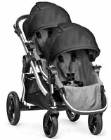 Baby Jogger City Select Twin Tandem Double Stroller Black Gray With Second Seat