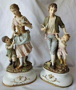 "Large Pair Ardalt Lenwile China Bisque Porcelain Figurines 15"""
