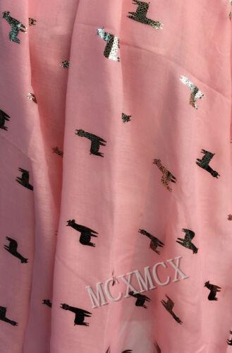Women Ladies Pretty Foil Scarf with Metallic Foil Alpaca Llama Pattern Scarf