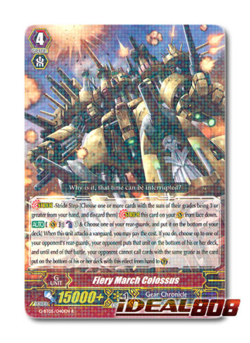 G-BT05//040EN R Pack Fresh Mint Cardfight Vanguard  x 4 Fiery March Colossus