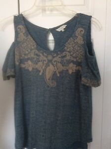 Lucky-Brand-Women-039-s-Cold-Shoulder-Blue-Print-Embroidered-Top-Size-Small