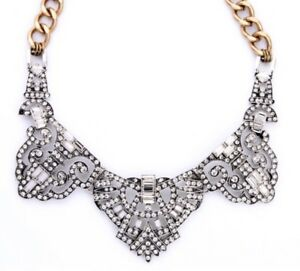 DESIGNER-ART-DECO-Chunky-Gold-Chain-Silver-Crystal-Rhinestone-Statement-Necklace