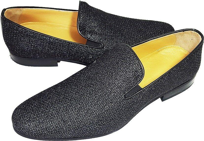 Original Chelsy - Italienischer Designer Party Slipper geripptes Leder silber 40