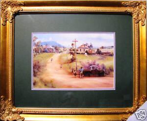 Australian-Artist-Darcy-Doyle-039-s-framed-print-039-The-Kite-Flyers-039