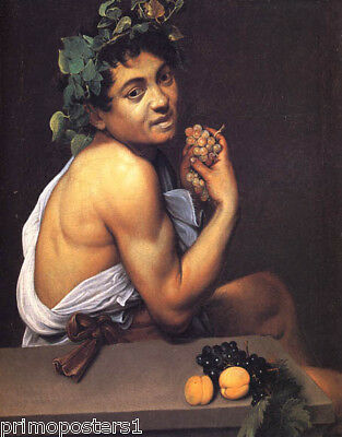 BACCHUS GOD GRAPES VINE LEAVES GOBLET OF WINE  PAINTING BY CARAVAGGIO REPRO