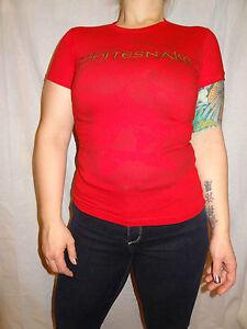Whitesnake-Red-Snake-100-Cotton-Graphic-Tee-Short-Sleeve-Juniors-M-Solid-Tultex