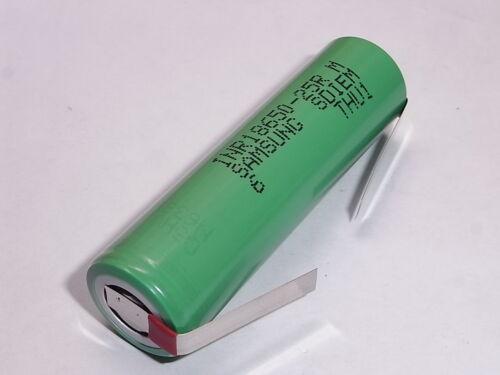 1 batteria  lamelle//alette SAMSUNG INR 18650 25R 2500 mAh 20//25A descharge 10C