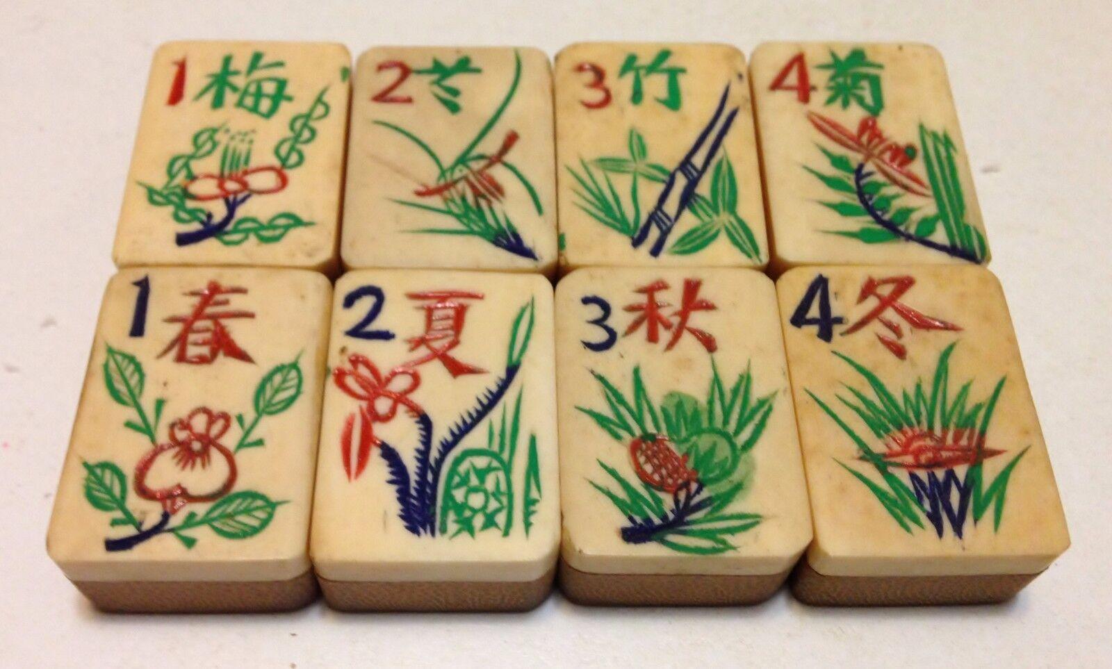 One set of 8 Tiles -Bone Bamboo - MahJong - 1920s  - 8 Tile Set3