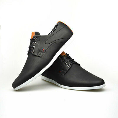 mens new casual black brown faux leather smart formal lace