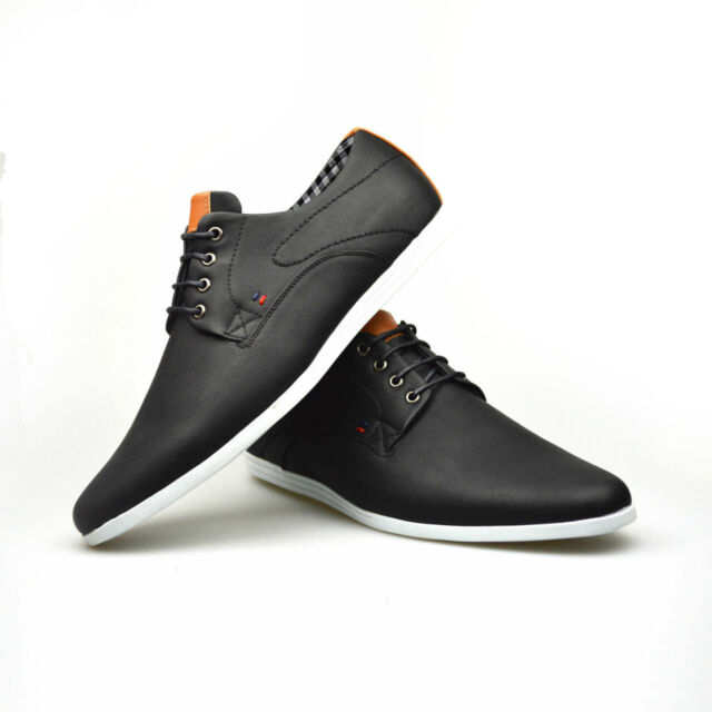 c803686d057 Mens New Casual Black Brown Faux Leather Smart Formal Lace Up Shoes UK SIZE  7-12