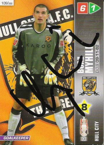 A Panini 2008 card. Personally signed by Boaz Myhill of Hull City.