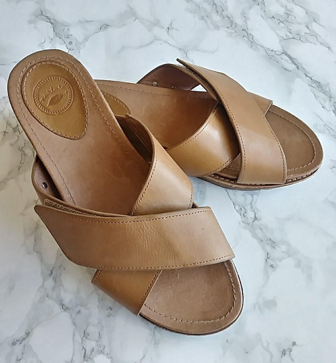Women's Nurture Brown 7 Leather Platform Slide Sandals US 7 Brown Adjustable Strap e151c8
