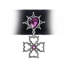 Alchemy Gothic Elizabethan Trefoil Swarovski Crystal Heart Pewter Pendant Choker