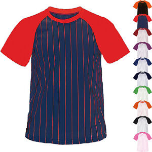 Mens V Neck Baseball Striped Jersey Raglan T Shirt Team Sport Tee Tops XS-XL