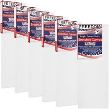 """6 Pack of US Art Supply 4"""" x 12"""" Acrylic Primed Cotton Duck Stretched Canvas"""