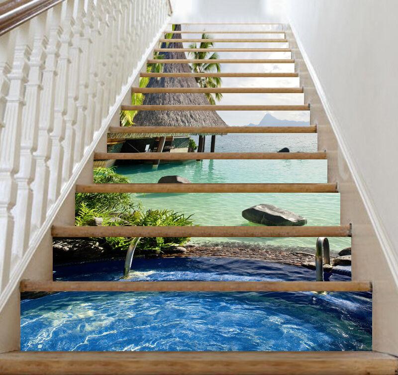 3D Seaside Pool 200 Stair Risers Decoration Photo Mural Vinyl Decal Wallpaper AU