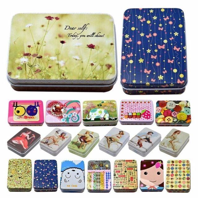 Wholesale Rectangular Iron Tin Jewelry Small Boxes Storage Jars Bag Card Case