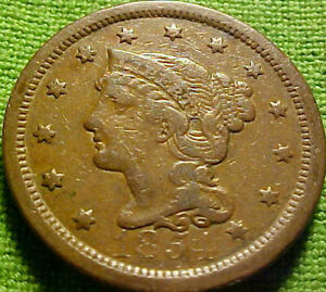 1854 Braided Large Cent 1c ~ NICE BRIGHT HIGHER GRADE COIN W/ SOLID DETAILS 61AJ