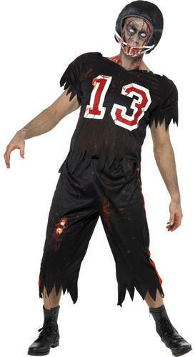 Zombie Footballer Mens Fancy Dress Halloween High School Adults Costume Outfit